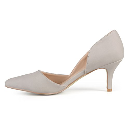 Journee Collection Mujeres Almond Toe Cut-out Bombas Gris