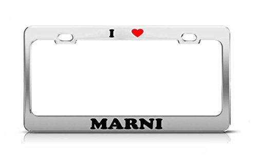 I HEART MARNI Boy Girl Name Love Metal Auto License Plate Frame Tag Holder