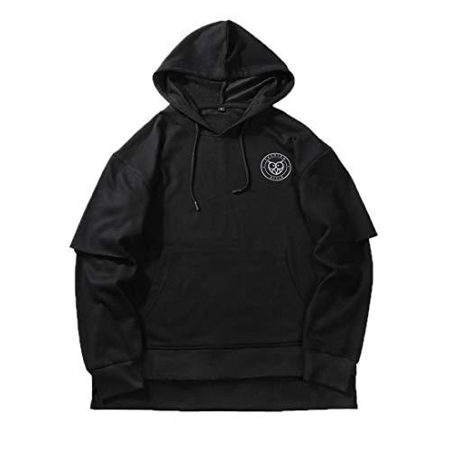 Clearance Men's Casual Solid Fake Two Piece Hoodie Sweatshirt - vermers Men Hip Pop Loose Long Sleeve Hooded Tops(L, Black) by vermers