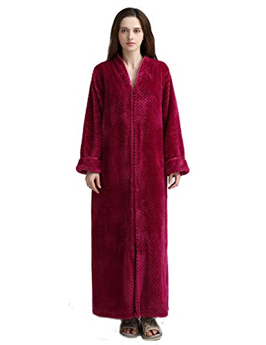 Women's Zip Front Bathrobe Premium Flannel Fleece Plush Caftan Soft Long Robe Warm Housecoat, Rose-L (Flannel Robe Women Zipper)
