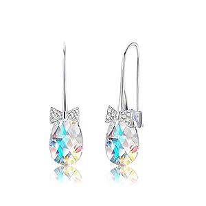 KesaPlan 18K Platinum Plated Teardrop Drop Dangle Earrings for Women Bow-shaped Hook Swarovski Aurora Crystal Earrings…