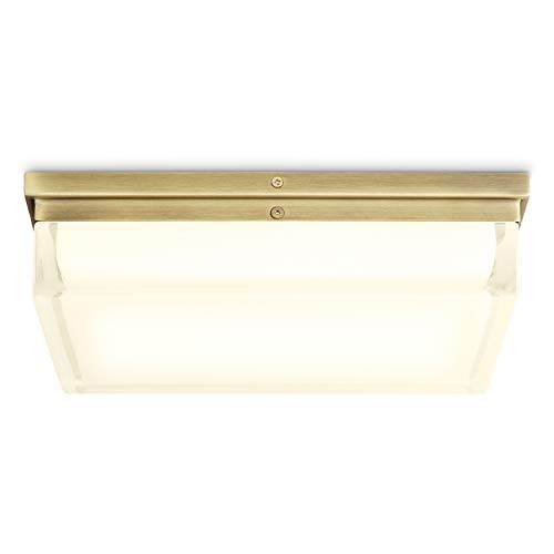 Square Brass Flush Mount Light - 12 Inch Large Glass, LED Ceiling Fixture, Dimmable, Damp Located - for Vanity, Bathroom, Bedroom, Kitchen, Living Room