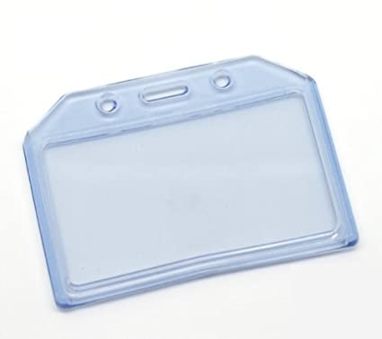 Clear Soft Plastic 2 Pockets Vertical Horizontal ID Card Badge Holder for Office