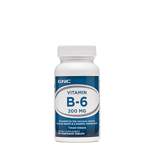 GNC Vitamin B-6 200mg, 100 Tablets, Supports Nervous System, Immunity and a Healthy Metabolism