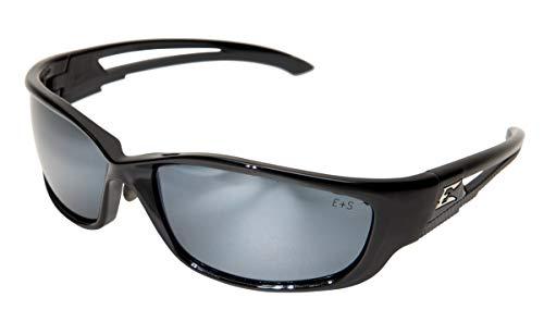 (Edge Eyewear SK-XL117 Kazbek XL Safety Glasses, Black with Silver Mirror Lens)
