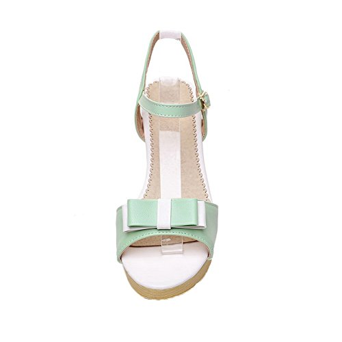 AalarDom Mujer Puntera Abierta Tacón Medio Pu Sólido Hebilla Sandalias de vestir Verde(6cm)