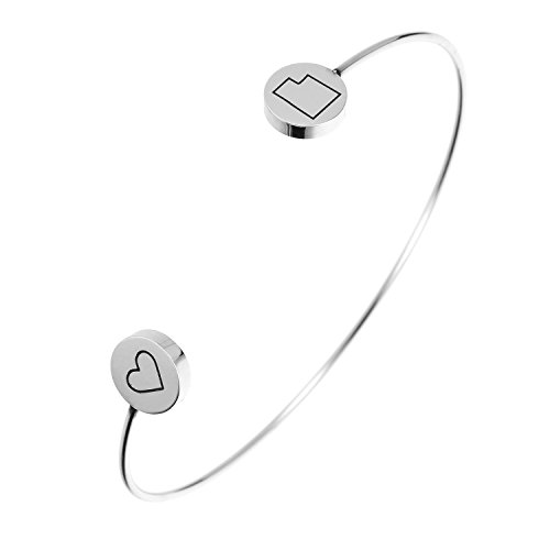 State Bangle Bracelet Utah UT - Open Wire Cuff Stainless Steel -