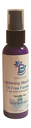 Lightening Skin Serum For Acne Scars and Age Spots, Oil Free Formula With Hydroquinone, Tonka Bean and Licorice, By Diva Stuff