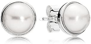FC707-PG-WH White Pearl Post Earring Polished Gold Plated  2 Pcs Earring Component
