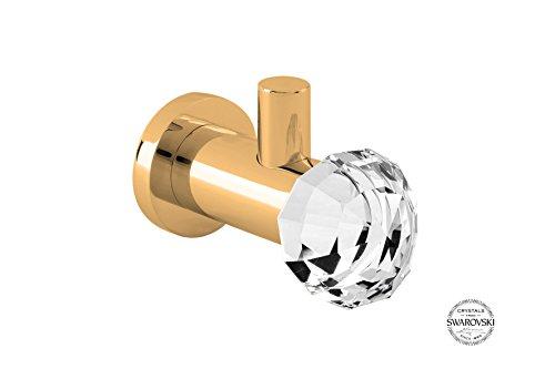 Rock Towel Robe Hook, Small Decorative Bathroom, Towel Holder, Brass with Big Swarovski Crysta Diamondl, Wall Mounted, Small Bathroom Ideas, Made in Spain (European Brand) (Polished Gold) by Hispania bath
