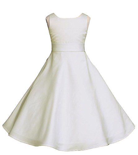 Satin Ivory Flower Girl Dresses - Pink Promise Wedding Pageant Ivory A-Line