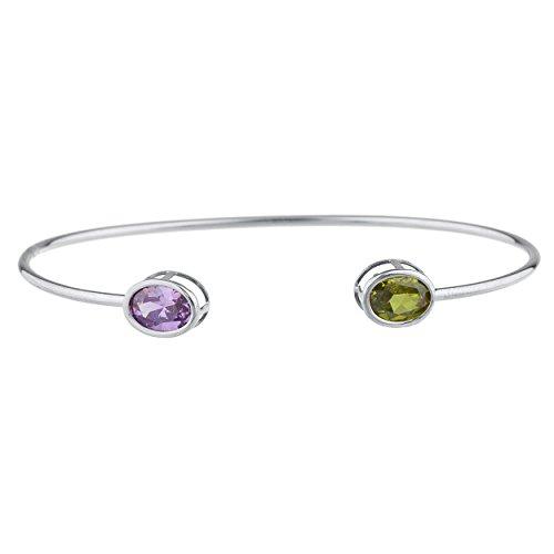 Elizabeth Jewelry Simulated Peridot & Created Alexandrite Oval Bezel Bangle Bracelet .925 Sterling Silver Rhodium Finish