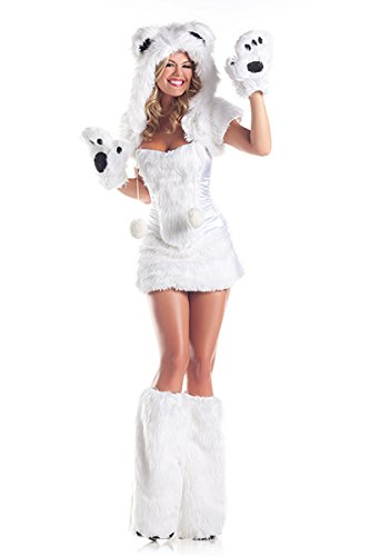 Be Wicked Costumes Women's Polar AR Costume, White, Medium/Large (Sexy Polar Bear Costume)