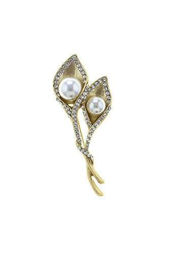 Art Deco Costume Jewelry Uk (TRENDY FASHION JEWELRY FAUX PEARL LILY BROOCH BY FASHION DESTINATION)