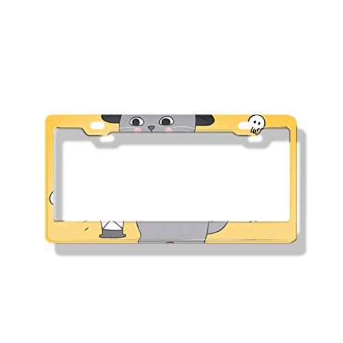 luckmx License Plate Frame Personalized Funny Car Metal Tag Frame Novelty Car Tag Holder Cute Halloween Cat ()