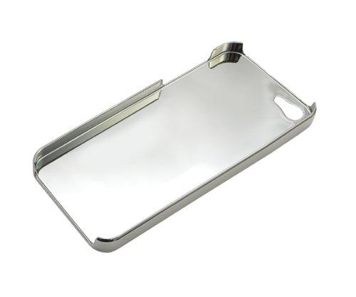Xcessor Quilted CS Chrome y Cuero Efecto Funda Carcasa Dura para Apple iPhone SE / 5S / 5. Blanco / Color Plata