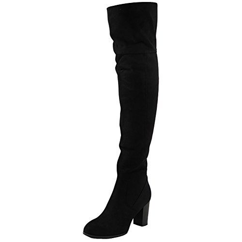 NEW WOMENS LADIES OVER THE KNEE THIGH HIGH BLOCK HEEL STRETCH BOOTS SHOES SIZES Black Micro