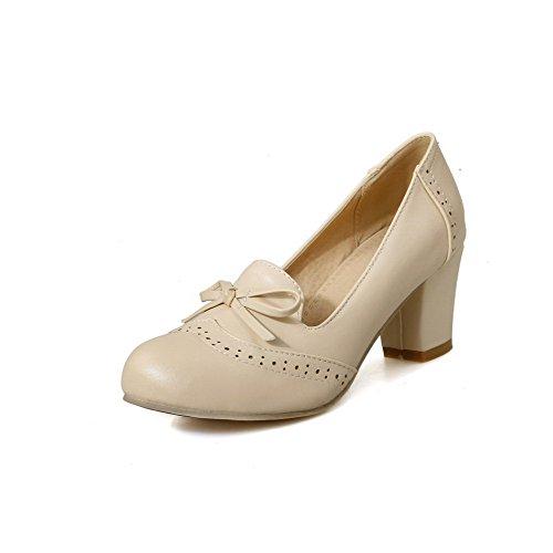Amoonyfashion Dames Pull-on Kitten-hakken Pu Stevige Gesloten Ronde Neus Pumps-schoenen Beige