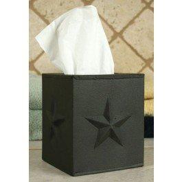 Tissue Box Holder - Decorative Tissue Box Cover - Star - Black - Country Tissue Boxes