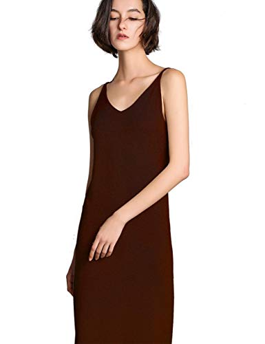 FINCATI Spring Autumn Dresses New 2019 Women Cashmere Blending Knit V Neck Spaghetti Strap Soft Sleeveless Slim Fashion Long Sweater Dress (1516 Coffe, -