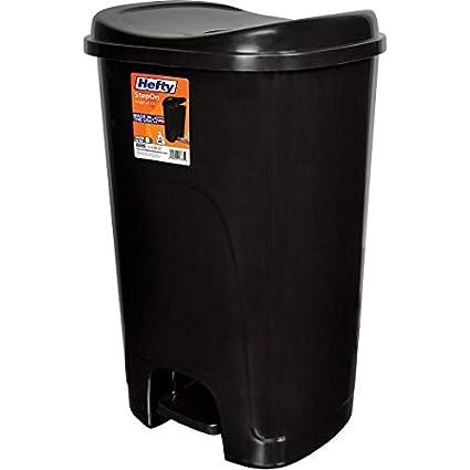 Amazon Com Step On 13 Gallon Trash Can Color Black Dimensions 15   90 Inches Home Kitchen