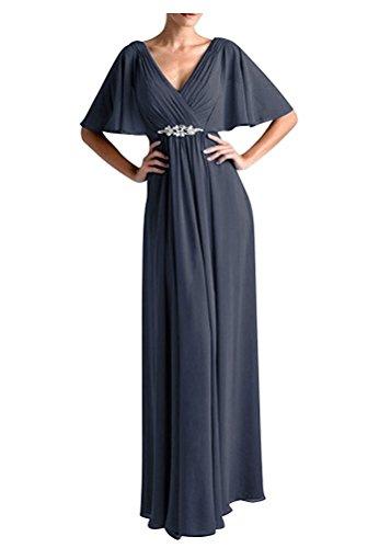 VaniaDress Women V Neck Half Sleeveles Long Evening Dress Formal Gowns V265LF Dark Gray US18W from VaniaDress