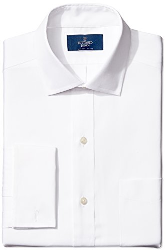 (BUTTONED DOWN Men's Classic Fit French Cuff Spread-Collar Non-Iron Dress Shirt, white, 15.5)