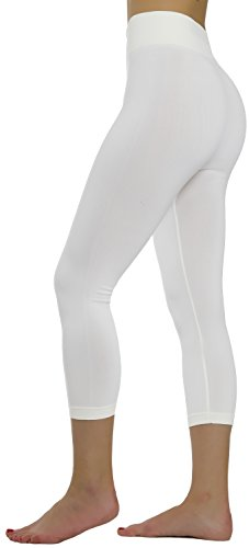 Ylluo Leggings High Waist Pants Buttery Soft Fleece and Non Fleece Tights Regular and Plus Size (Plus Size (XL - 3XL), Ivory Capri) ()