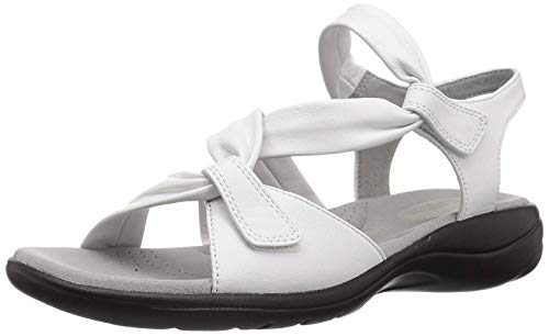 (CLARKS Women's Saylie Moon Sandal, White Leather, 11 Wide US)