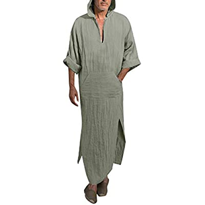 TOPUNDER Mens Vintage Dress Ethnic Robes Loose Solid Long Sleeve Loose Hooded Kaftan Robe