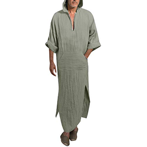 DEATU Mens Ethnic Robes Solid Color Long Sleeve Hooded Vintage Kaftan Robe Dress
