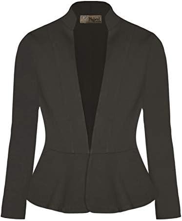 Hybrid & Company Womens Casual Elegant Work Office Nylon Ponte Blazer Jacket