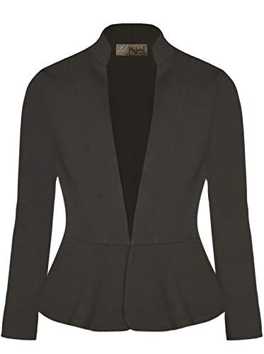 Hybrid & Company Women Super Comfy Ponte Office Blazer-JK1135X-1073T-CHARCOAL-1X