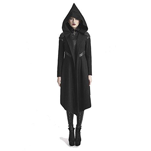 Largemouth Women's Punk Woolen Hooded Coat -