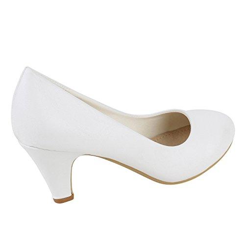 Slippers Glatt Hi Stiefelparadies Arriate Top Weiss femme 4wvFW81q