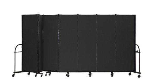 Screenflex Heavy Duty Portable Room Divider (HFSL607-DX) 6 Feet High by 13 Feet 1 Inches Long, Designer Black Fabric by Screenflex