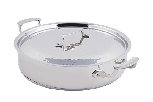 (Bon Chef 60030HF Stainless Steel Induction Bottom Cucina Pot with Cover, Hammered Finish, 6 quart Capacity, 12-3/8