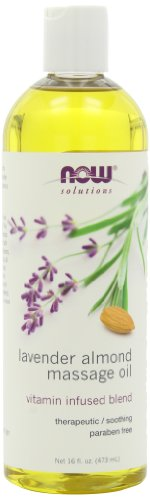 NOW Lavender Almond Massage Oil, 16-Ounces (Pack of 2)