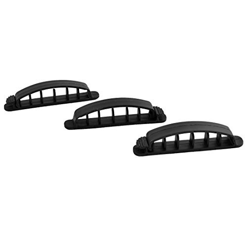 DealMux Plastic Bridge Shape Five Grooves Wire Cord Cable Clips Holder 3 PCS Black (Pinza Holder Cord)