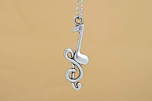 8 Pcs - 31x10MM Music Note Charm Silver Tone Zinc Alloy Charm