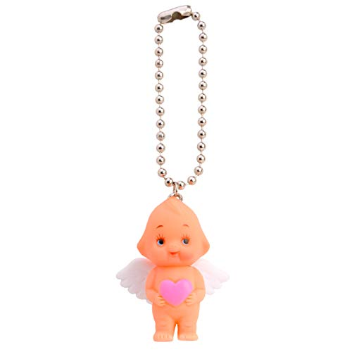 (Obitsu Kewpie Vintage Rubber Baby Doll Angel Wings Heart Pendant Keychain Handbag Charm Mini Key Ring (Pink))