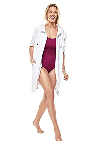 Swim 365 Women's Plus Size Cover-Up For Swimsuit, Hooded In Terrycloth - White Terry Hooded Cover Up