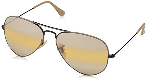Ray-Ban RB3025 Aviator Sunglasses, Black & Matte Beige/Yellow Gradient Mirror, 58 ()