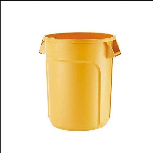 キッチンゴミ箱/ごみ箱 厚くされた大容量の収納用バケツの円形の多色のプラスチック収納用の箱の産業屋外のゴミ箱 ビン (Color : Yellow, サイズ : 121L)