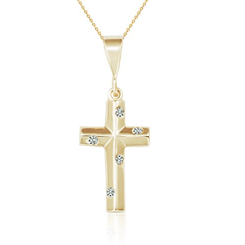 NEW 2017 STYLE SOLID 14K YELLOW GOLD CZ CROSS PENDANT NECKLACE FOR WOMEN AND CHILDREN (18) by Jewel Connection