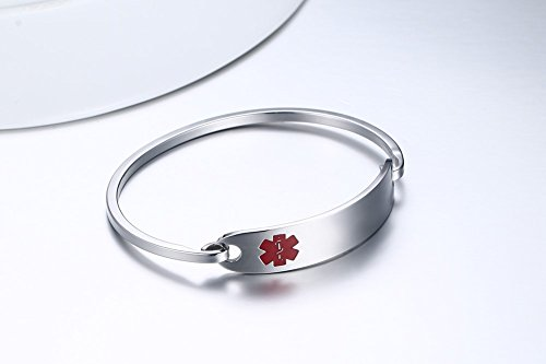 Free-Engraving-Stainless-Steel-Medical-Alert-ID-Bangle-BraceletSilver75