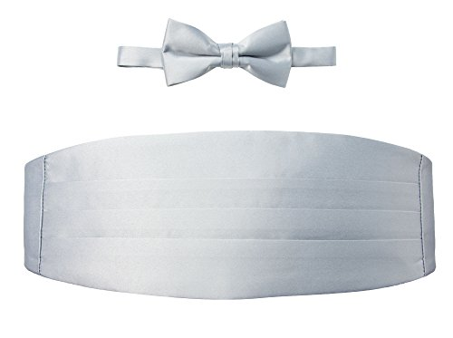 Spring Notion Men's Cummerbund and Bow Tie Set Silver (Silver Cummerbund)