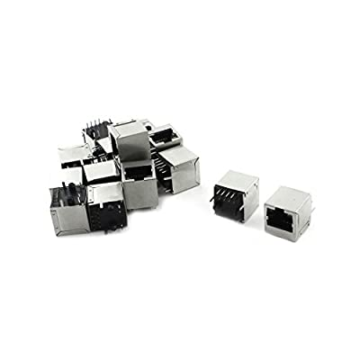 uxcell 15Pcs 12Pins 2 LED RJ45 8P8C Shield Modular Network PCB Jack Connector