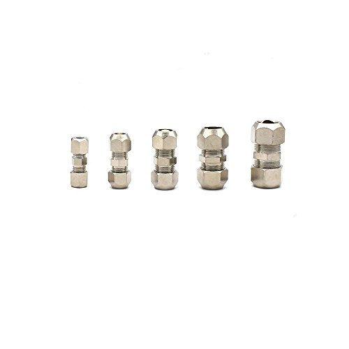 Metalwork Metric Nickel Plated Brass Compression Tube Fitting, Union, Double Sleeve Straight Connector (8mm OD x 8mm OD, Pack of 5)
