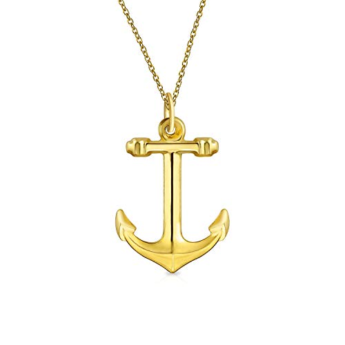 14K Yellow Real Gold Nautical Boat Anchor Pendant Necklace For Women For Men With 14K Gold Chain 14k Gold Nautical Anchor